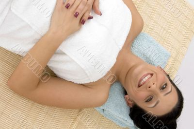 smiling woman ready to take massage