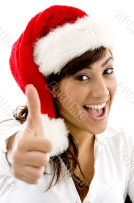 happy attorney in christmas hat with thumbs up