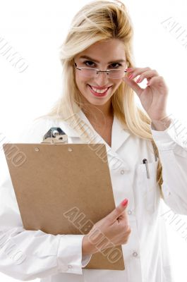 front view of cheerful female surgeon