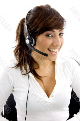 front view of cheerful service provider