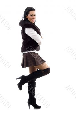 full body pose of attractive young female