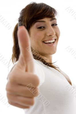 smiling female attorney with thumbs up