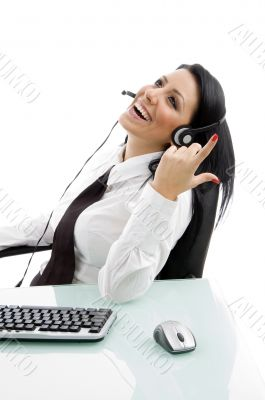 young service provider laughing