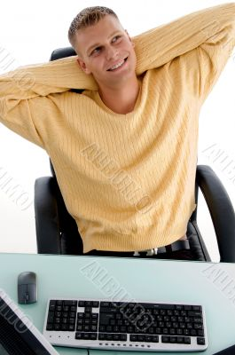 man laughing while resting