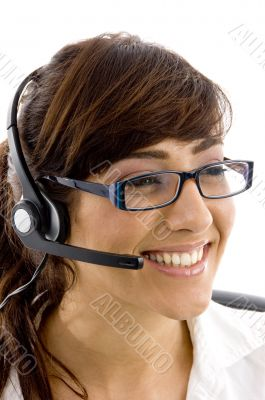 cheerful female customer care executive