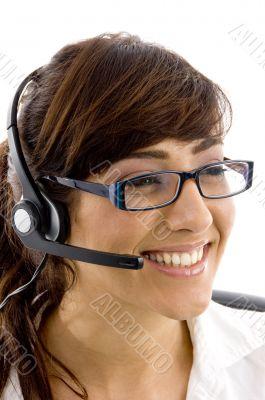 cheerful female customer care executive