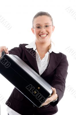smiling woman showing briefcase