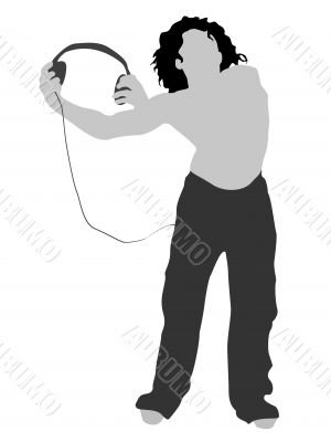 man holding headphone
