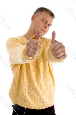 handsome guy showing  thumbs up with both hands