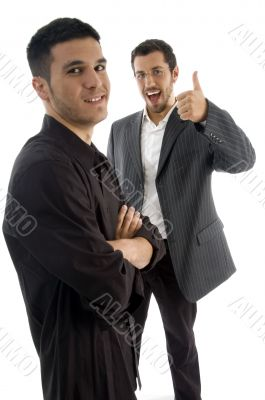 businesspeople with thumbs up hand gesture