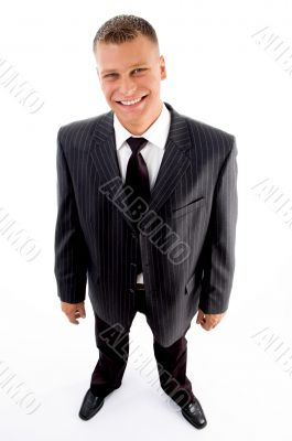 standing pleased businessman