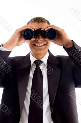 handsome young executive with binoculars