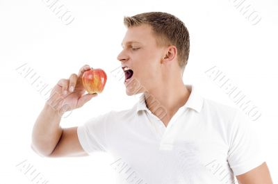 handsome man going to eat apple