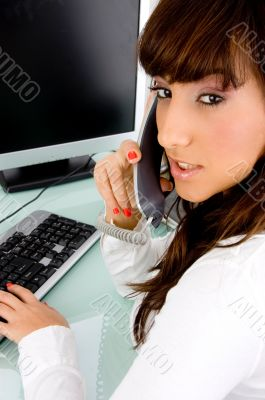 side view of working woman