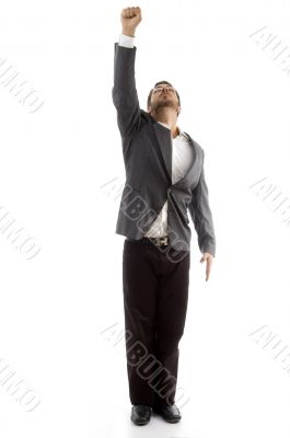 businessman showing his punch upward