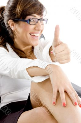 side angle view of happy accountant with thumbs up