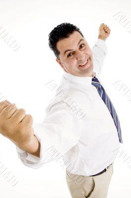 accomplished businessman enjoying success