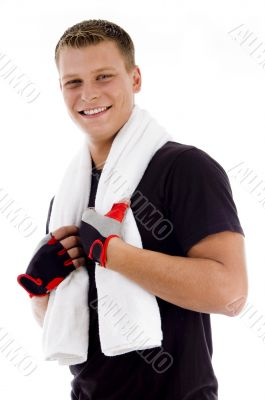 smiling adult man holding towel