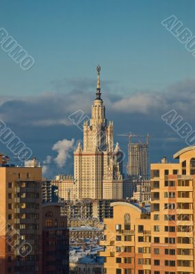 Moscow State University on sunset