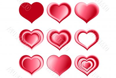 red hearts collection, button, icon
