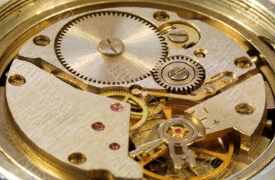 Macrophoto of mechanical watch