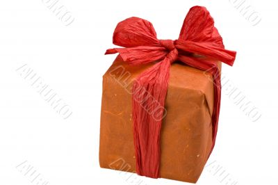 gift wrapped in orange paper