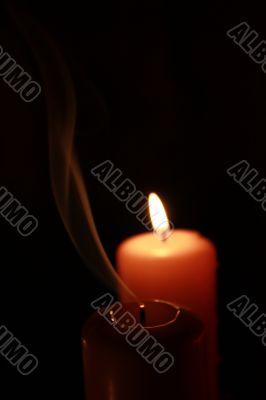 Candle, flame, smoke