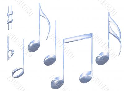 Set of chrome metal musical note symbols isolated