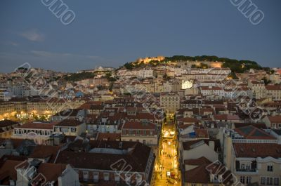 Bird view of downtown of the city at sunset, lisbon, portugal