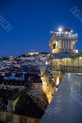 View of downtown of the city at night, lisbon, portugal