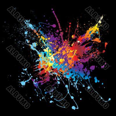 ink splatter rainbow black