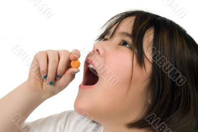 Girl Taking Vitamin C