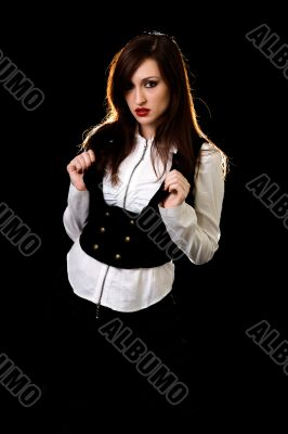 Woman in black and white outfit