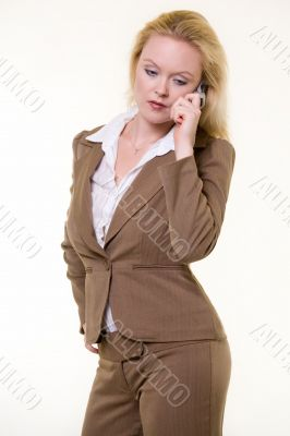 Woman in brown business suit