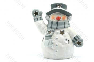 Clay lamp Snowman