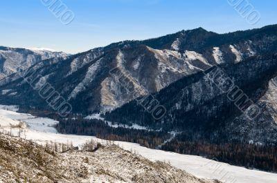 Peak of mountains. Winter in Altay.