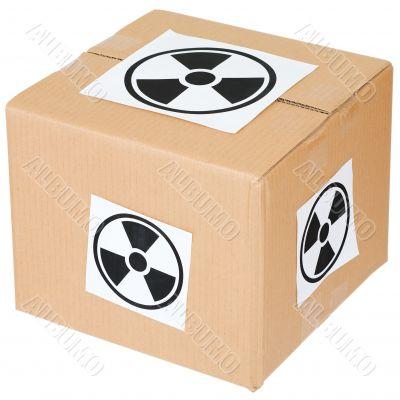 Cardboard box with a radiation hazard