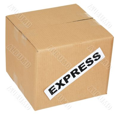 Cardboard box with an inscription express