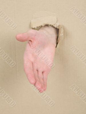 Male hand throug in cardboard