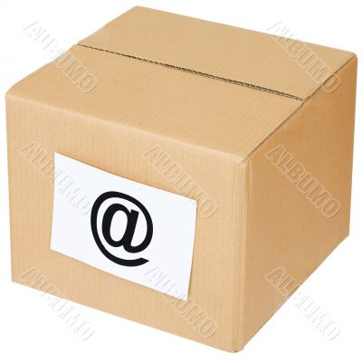 Cardboard box with a e-mail sign