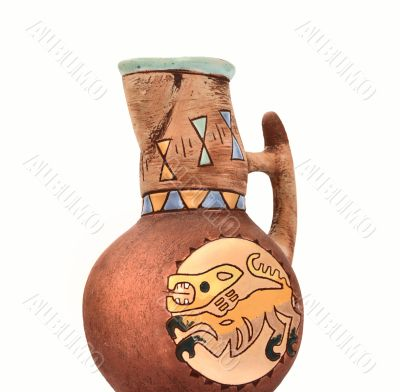 Clay jug with ethnic pattern