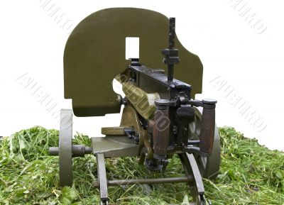 solated vintage self-powered machine gun