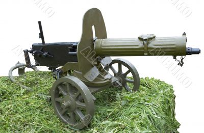 Isolated vintage self-powered machine gun