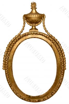 Isolated empty oval golden frame