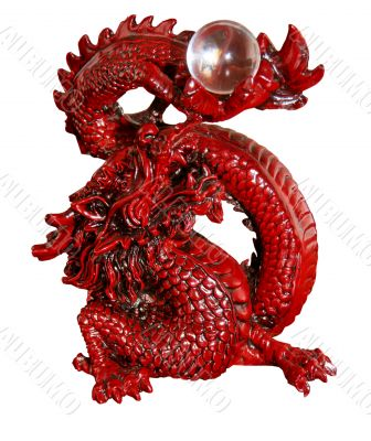 isolated antique orient red dragon figurine