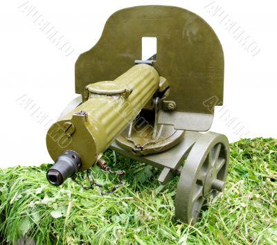 vintage self-powered Maxim machine gun