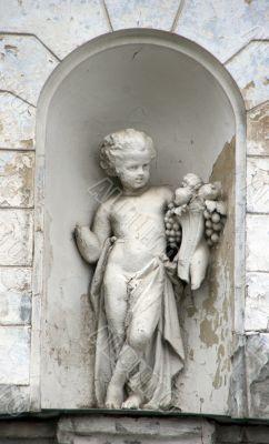 Stony angel figurine architecture decoration