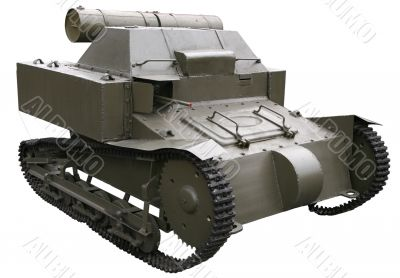 ancient small self-propelled tank