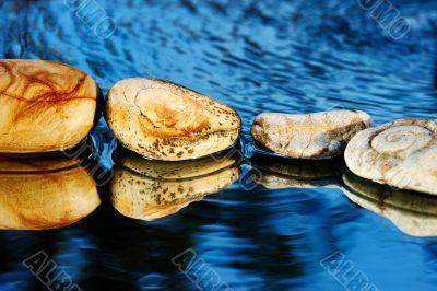 Sea stones on dark blue