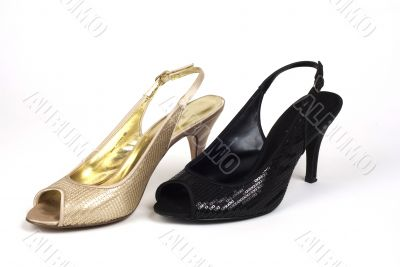 Gold and Black Women`s High-Heel Shoes